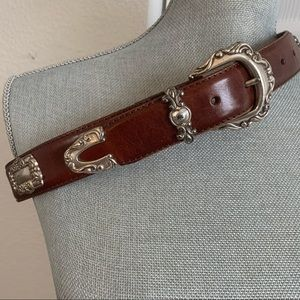 FOSSIL brown leather belt with heavy silver trim
